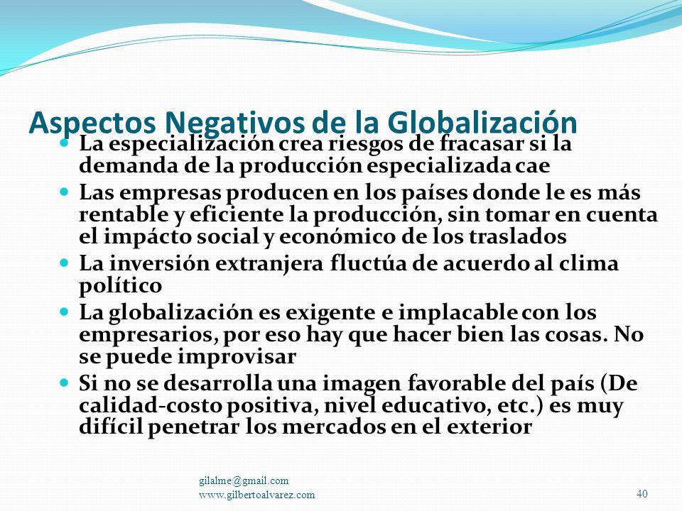 Aspectos Negativos de la Globalización