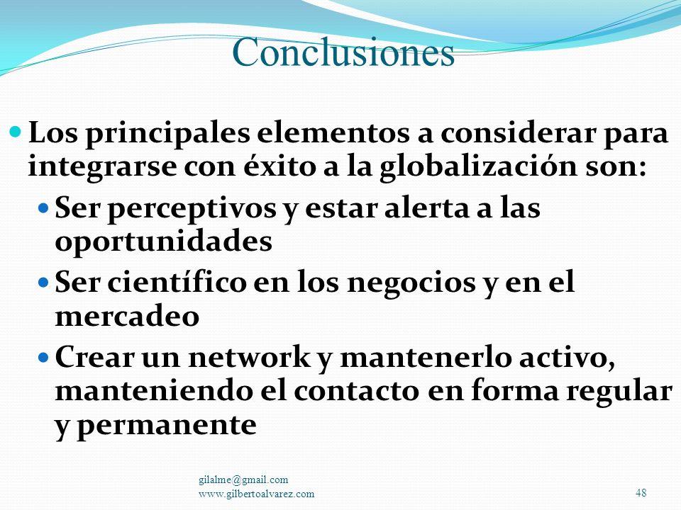 Conclusiones Los principales elementos a considerar para integrarse con éxito a la globalización son: