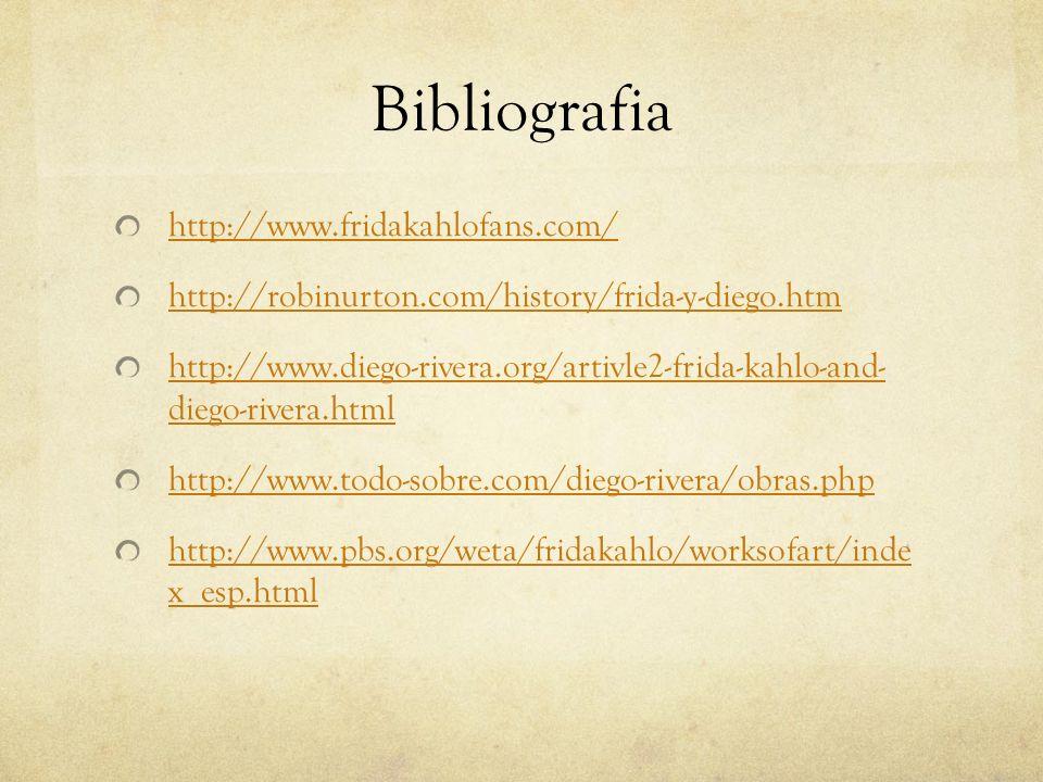 Bibliografia http://www.fridakahlofans.com/