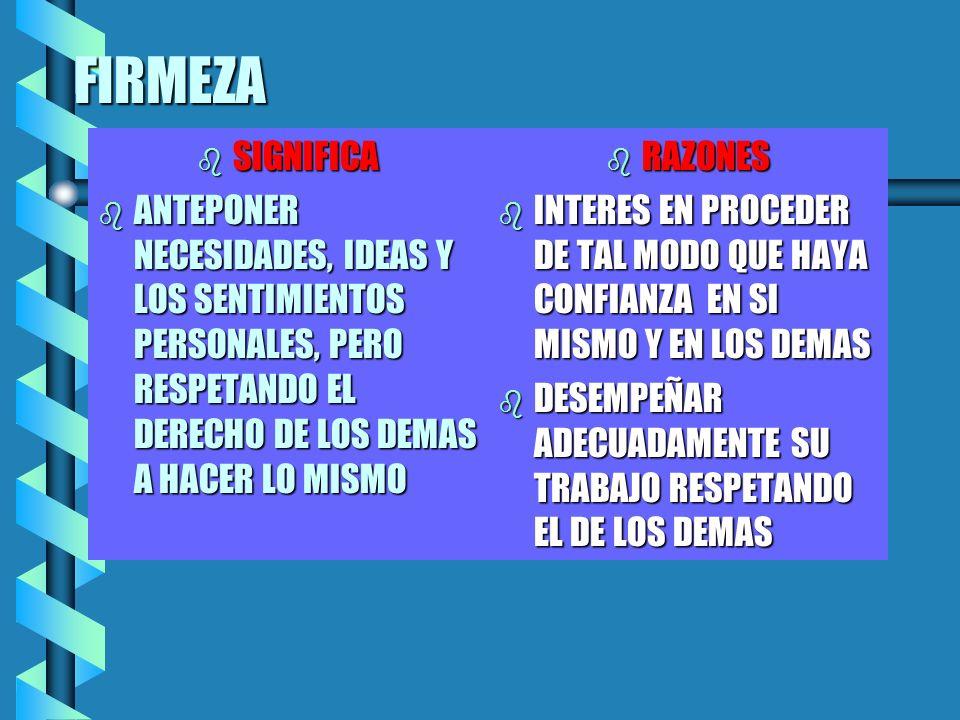 FIRMEZA SIGNIFICA. ANTEPONER NECESIDADES, IDEAS Y LOS SENTIMIENTOS PERSONALES, PERO RESPETANDO EL DERECHO DE LOS DEMAS A HACER LO MISMO.
