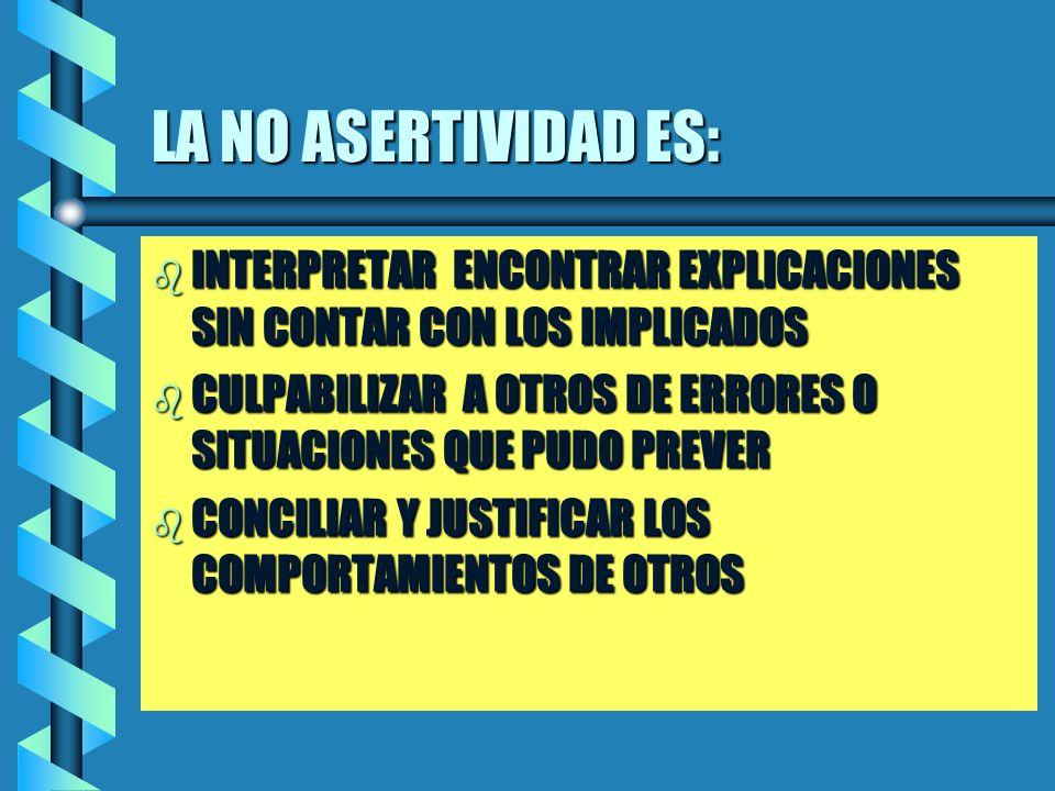 LA NO ASERTIVIDAD ES: INTERPRETAR ENCONTRAR EXPLICACIONES SIN CONTAR CON LOS IMPLICADOS.