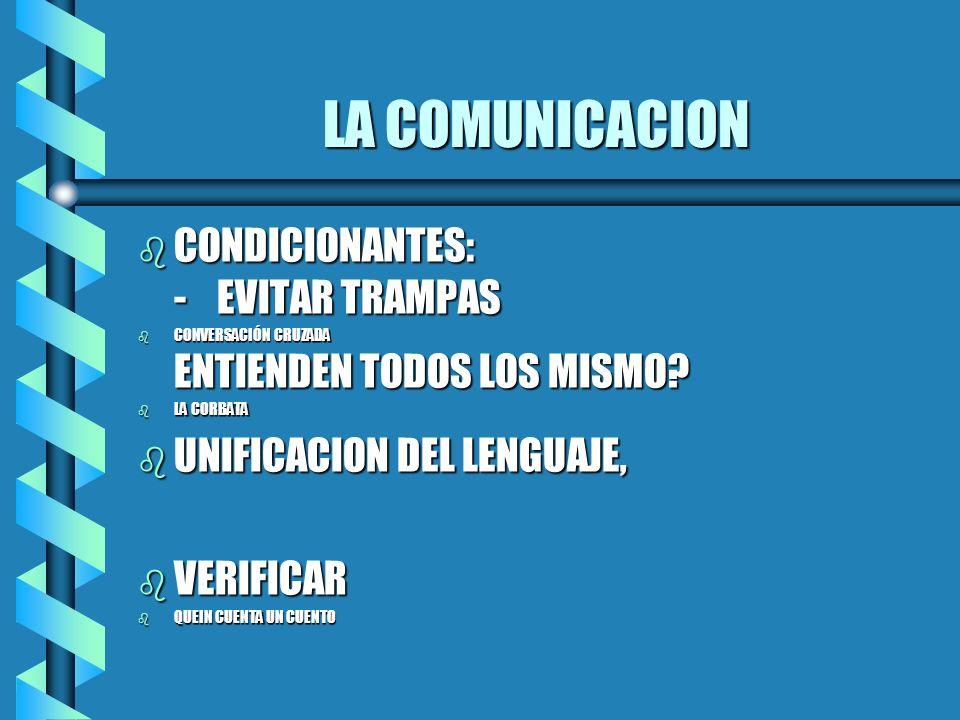 LA COMUNICACION CONDICIONANTES: - EVITAR TRAMPAS