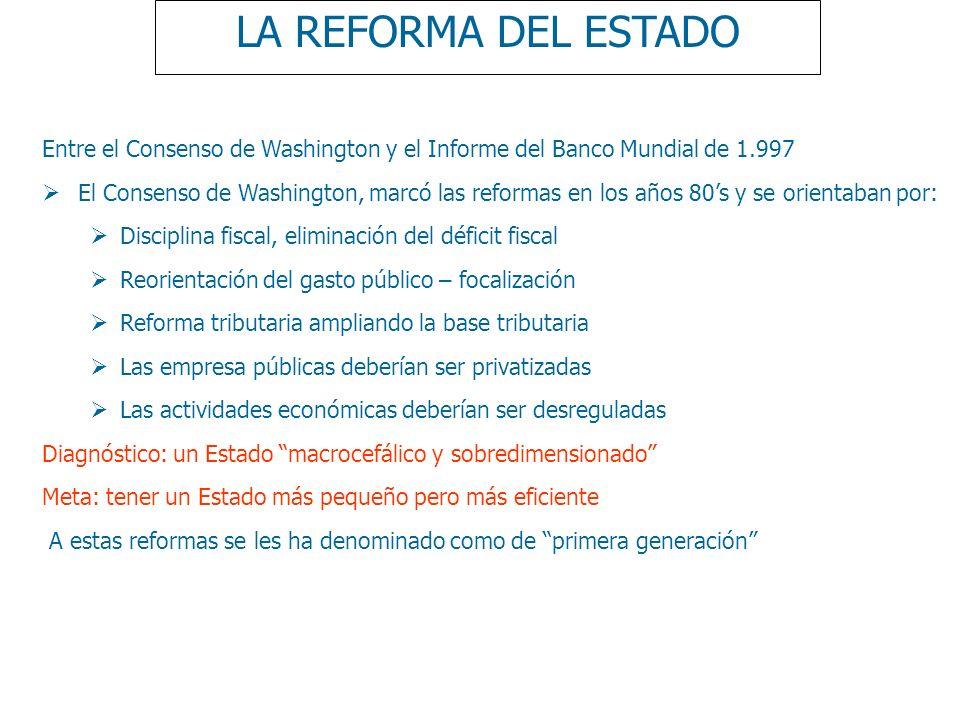LA REFORMA DEL ESTADOEntre el Consenso de Washington y el Informe del Banco Mundial de 1.997.