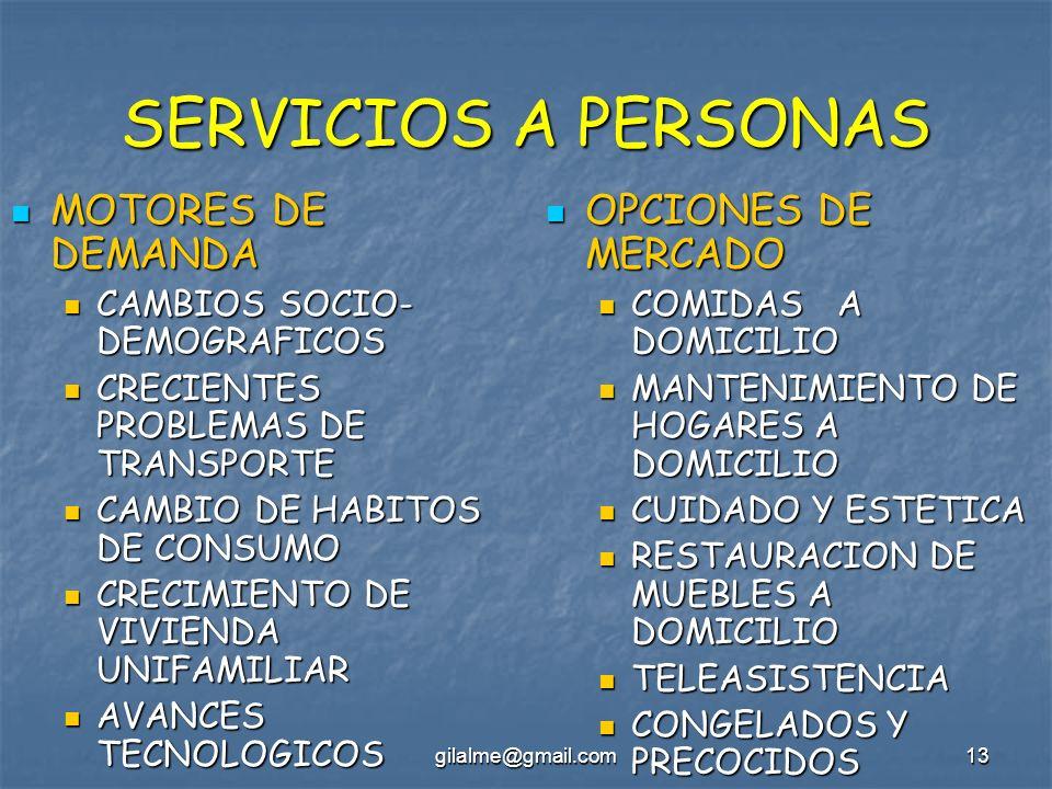 SERVICIOS A PERSONAS MOTORES DE DEMANDA OPCIONES DE MERCADO