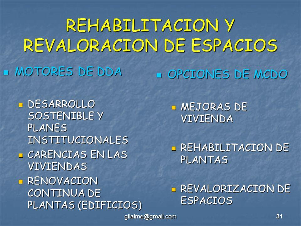 REHABILITACION Y REVALORACION DE ESPACIOS