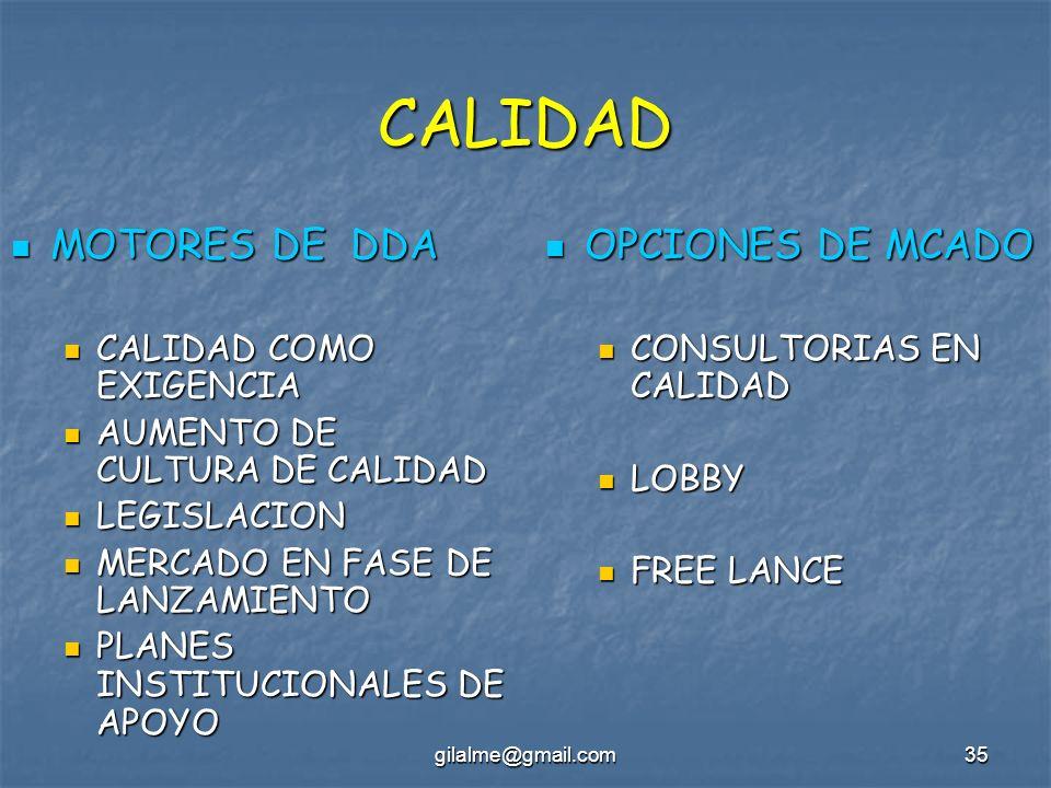 CALIDAD MOTORES DE DDA OPCIONES DE MCADO CALIDAD COMO EXIGENCIA
