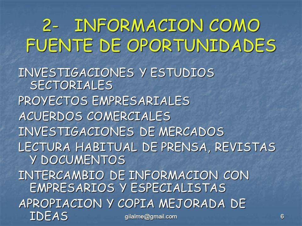 2- INFORMACION COMO FUENTE DE OPORTUNIDADES