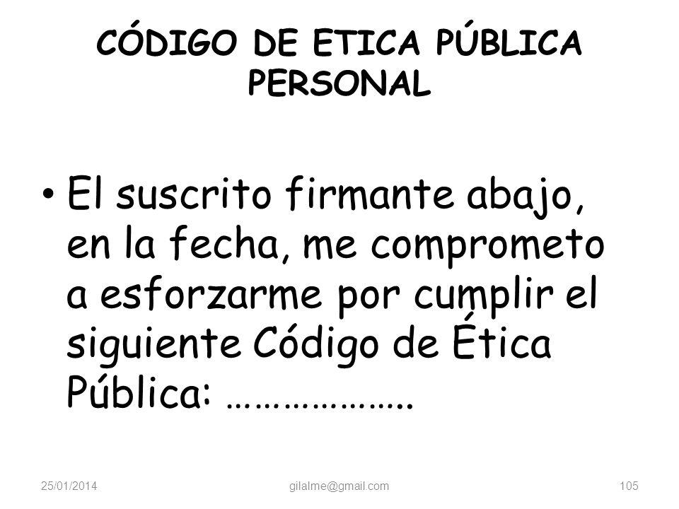 CÓDIGO DE ETICA PÚBLICA PERSONAL