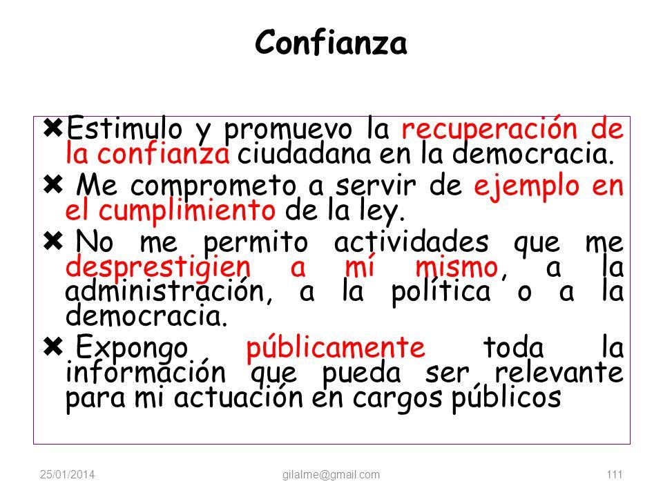 Confianza Estimulo y promuevo la recuperación de la confianza ciudadana en la democracia.