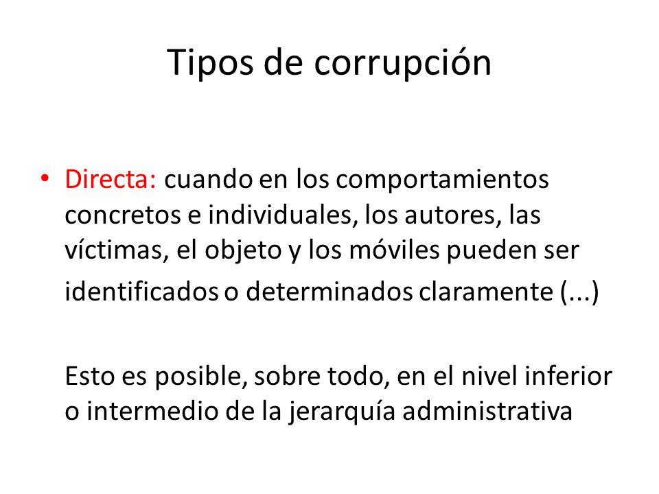 Tipos de corrupciónDirecta: cuando en los comportamientos concretos e individuales, los autores, las víctimas, el objeto y los móviles pueden ser.