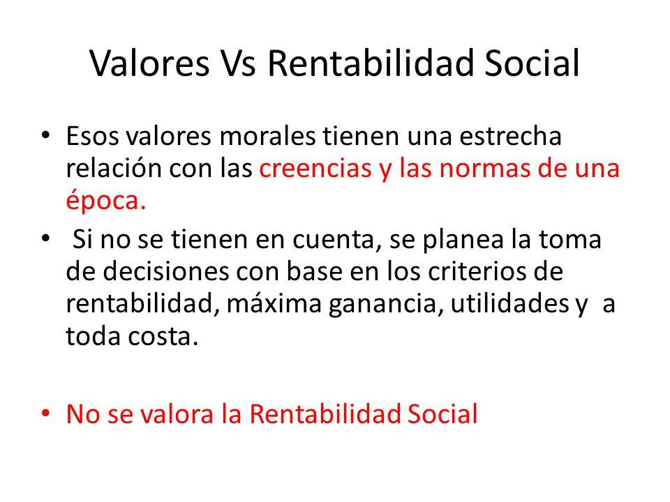 Valores Vs Rentabilidad Social