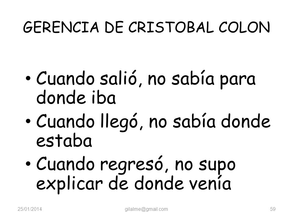 GERENCIA DE CRISTOBAL COLON