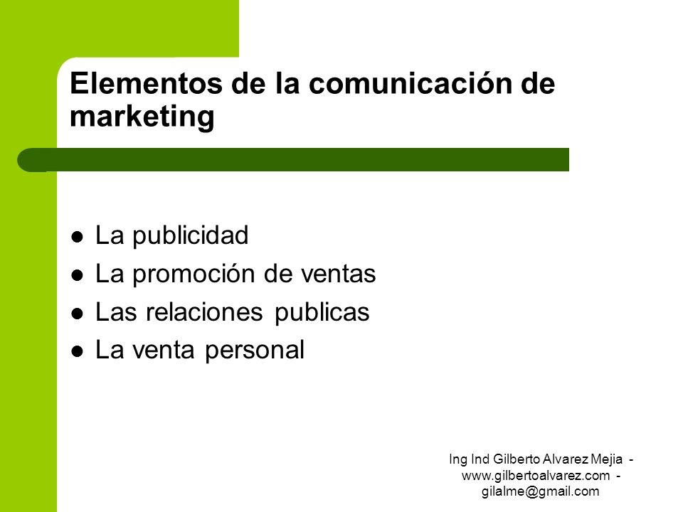 Elementos de la comunicación de marketing