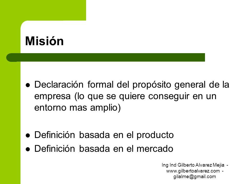 MisiónDeclaración formal del propósito general de la empresa (lo que se quiere conseguir en un entorno mas amplio)