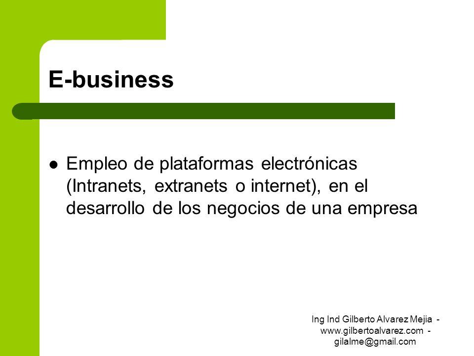 E-businessEmpleo de plataformas electrónicas (Intranets, extranets o internet), en el desarrollo de los negocios de una empresa.