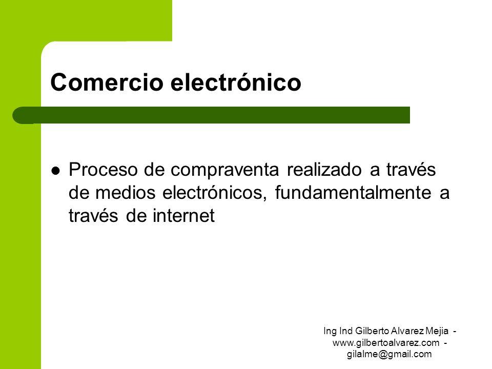 Comercio electrónicoProceso de compraventa realizado a través de medios electrónicos, fundamentalmente a través de internet.