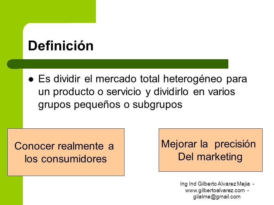 DefiniciónEs dividir el mercado total heterogéneo para un producto o servicio y dividirlo en varios grupos pequeños o subgrupos.