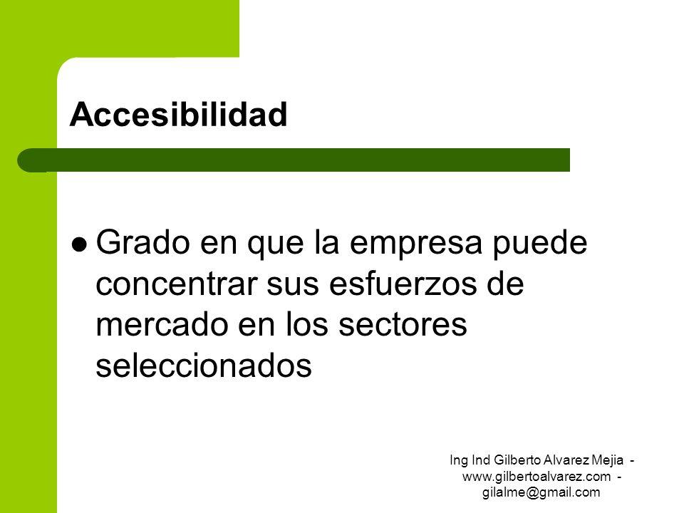 AccesibilidadGrado en que la empresa puede concentrar sus esfuerzos de mercado en los sectores seleccionados.