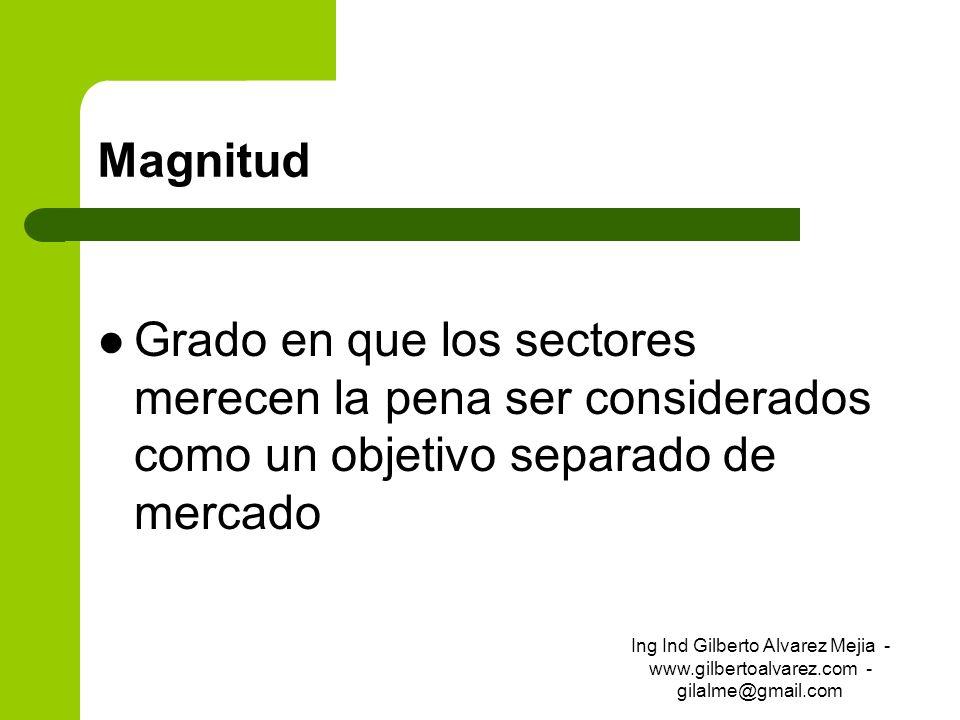 MagnitudGrado en que los sectores merecen la pena ser considerados como un objetivo separado de mercado.