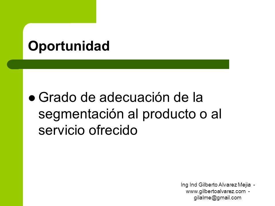 OportunidadGrado de adecuación de la segmentación al producto o al servicio ofrecido.