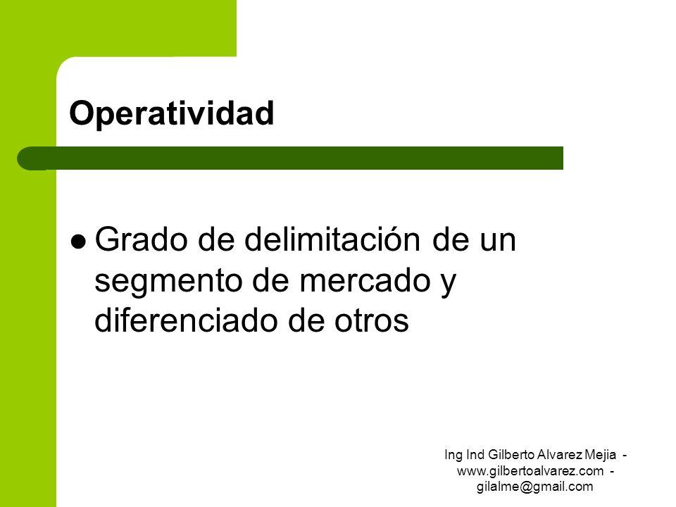 OperatividadGrado de delimitación de un segmento de mercado y diferenciado de otros.
