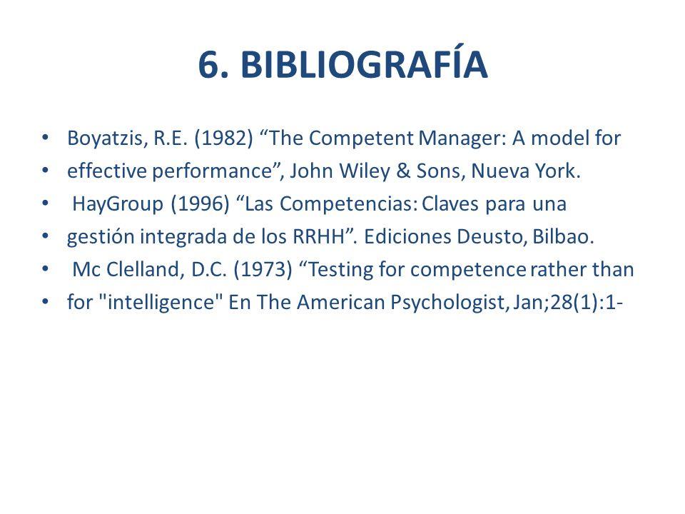 6. BIBLIOGRAFÍA Boyatzis, R.E. (1982) The Competent Manager: A model for. effective performance , John Wiley & Sons, Nueva York.