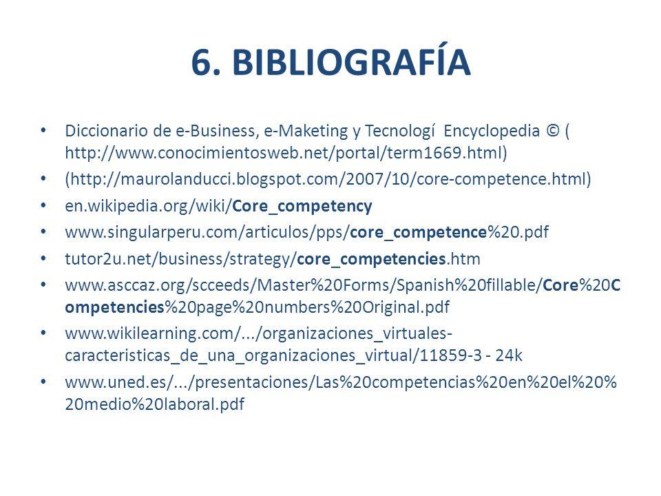 6. BIBLIOGRAFÍA Diccionario de e-Business, e-Maketing y Tecnologí Encyclopedia © ( http://www.conocimientosweb.net/portal/term1669.html)