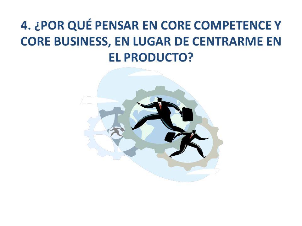 4. ¿POR QUÉ PENSAR EN CORE COMPETENCE Y CORE BUSINESS, EN LUGAR DE CENTRARME EN EL PRODUCTO