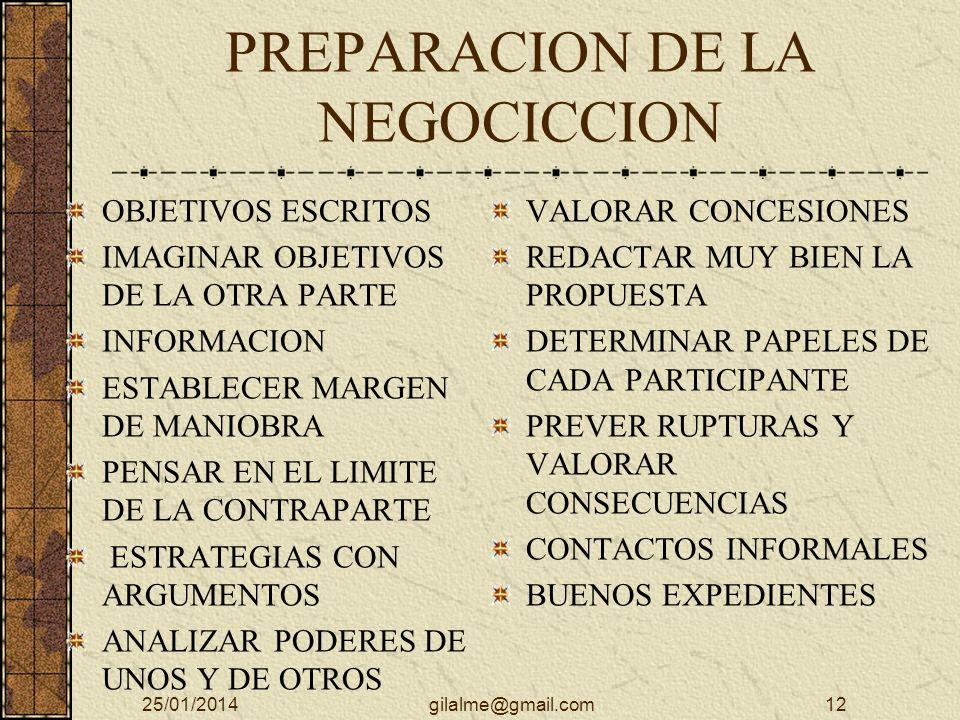 PREPARACION DE LA NEGOCICCION