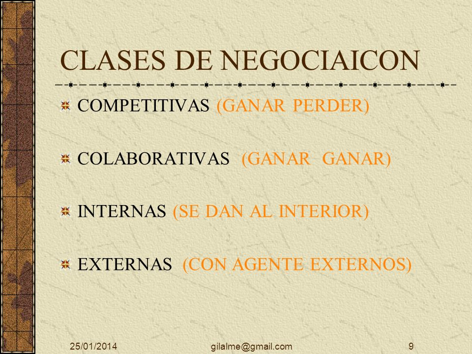 CLASES DE NEGOCIAICON COMPETITIVAS (GANAR PERDER)
