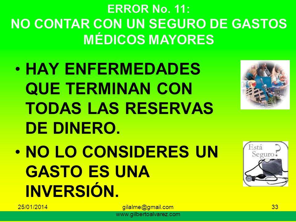 ERROR No. 11: NO CONTAR CON UN SEGURO DE GASTOS MÉDICOS MAYORES
