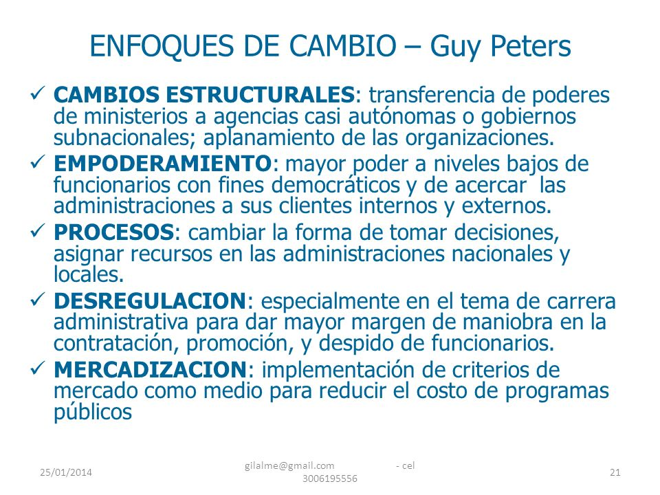 ENFOQUES DE CAMBIO – Guy Peters