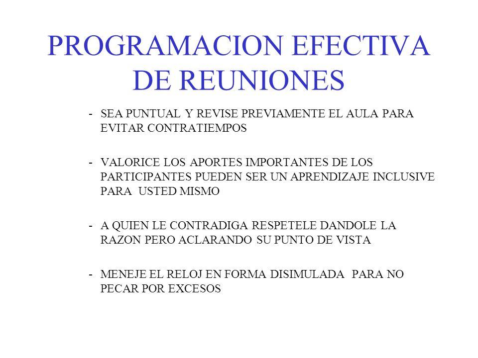 PROGRAMACION EFECTIVA DE REUNIONES