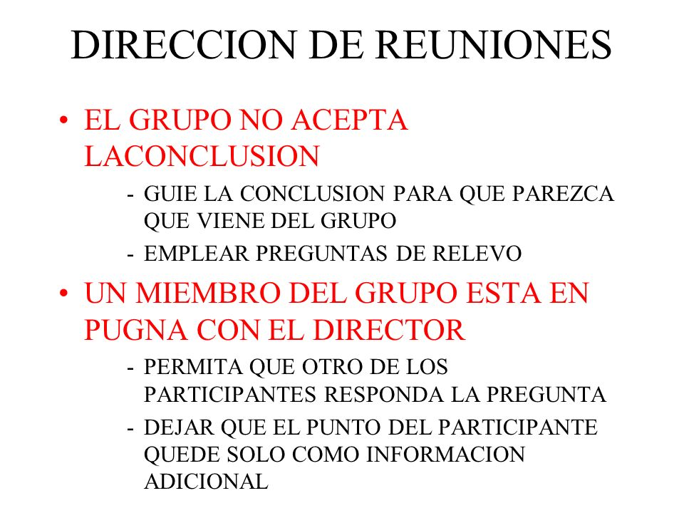 DIRECCION DE REUNIONES