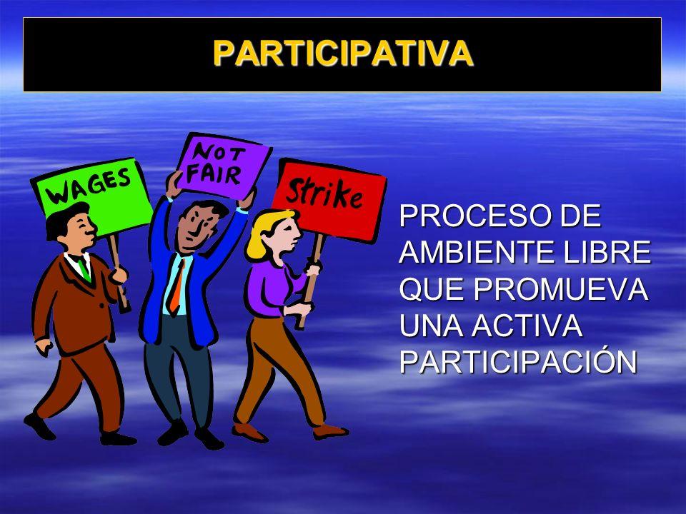 PARTICIPATIVA PROCESO DE AMBIENTE LIBRE QUE PROMUEVA UNA ACTIVA PARTICIPACIÓN
