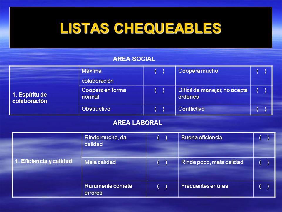 LISTAS CHEQUEABLES AREA SOCIAL AREA LABORAL