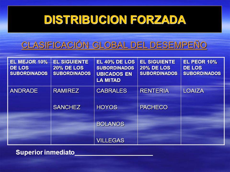 CLASIFICACIÓN GLOBAL DEL DESEMPEÑO