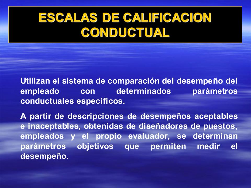 ESCALAS DE CALIFICACION CONDUCTUAL