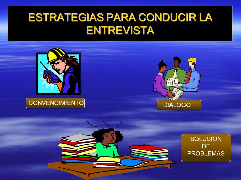 ESTRATEGIAS PARA CONDUCIR LA ENTREVISTA