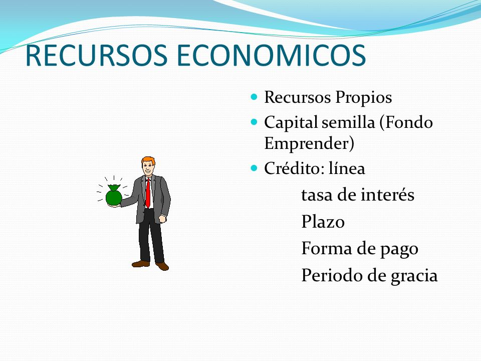 RECURSOS ECONOMICOS tasa de interés Plazo Forma de pago