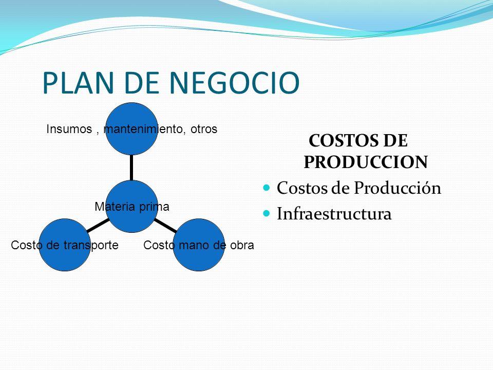 PLAN DE NEGOCIO COSTOS DE PRODUCCION Costos de Producción