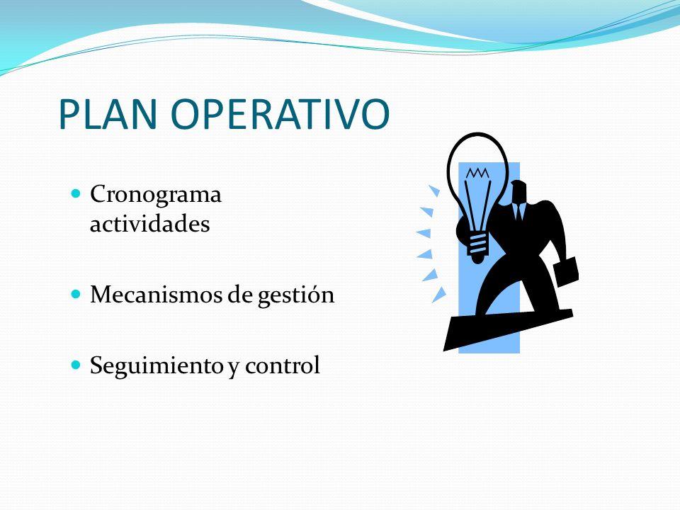 PLAN OPERATIVO Cronograma actividades Mecanismos de gestión