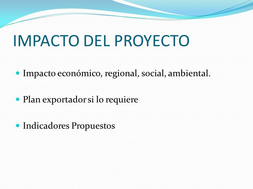 IMPACTO DEL PROYECTO Impacto económico, regional, social, ambiental.