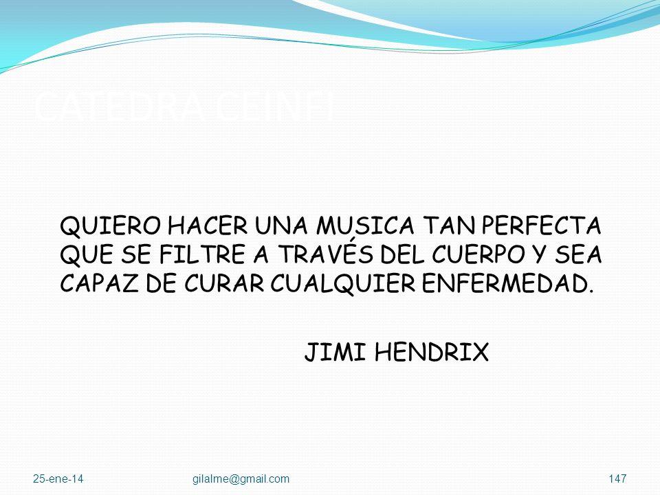 CATEDRA CEINFI QUIERO HACER UNA MUSICA TAN PERFECTA QUE SE FILTRE A TRAVÉS DEL CUERPO Y SEA CAPAZ DE CURAR CUALQUIER ENFERMEDAD. JIMI HENDRIX