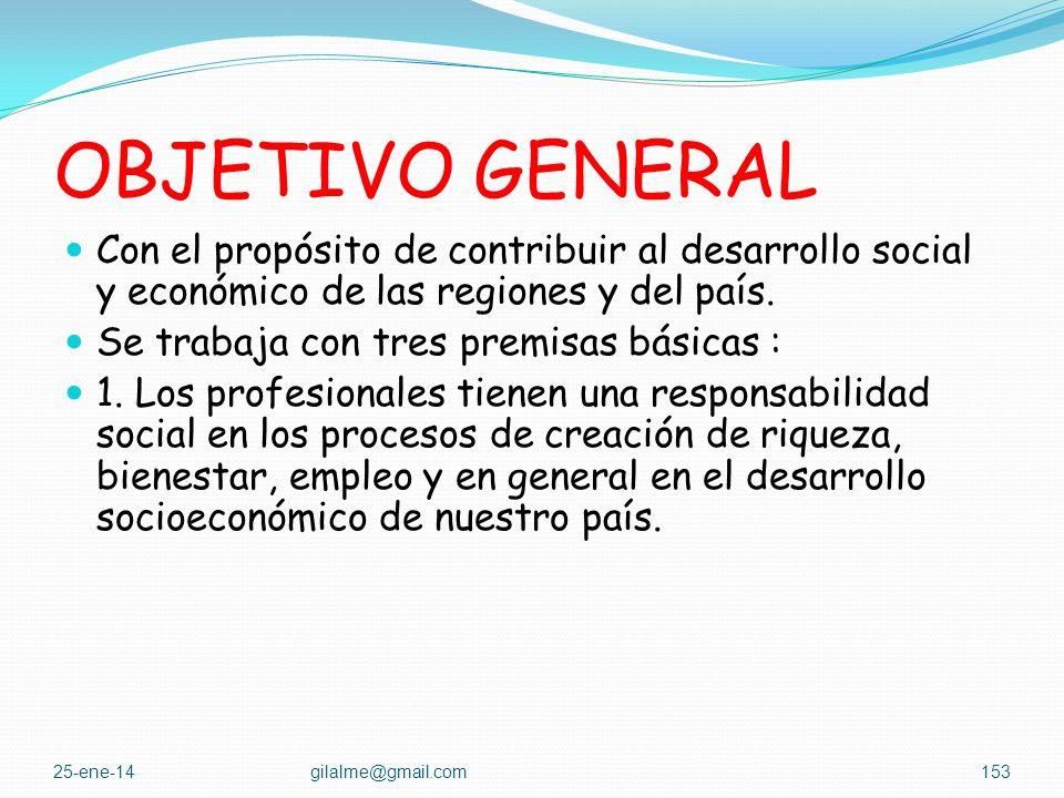 OBJETIVO GENERAL Con el propósito de contribuir al desarrollo social y económico de las regiones y del país.