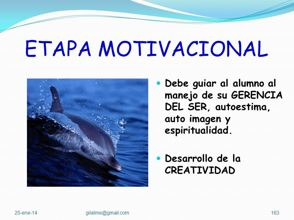 ETAPA MOTIVACIONAL Debe guiar al alumno al manejo de su GERENCIA DEL SER, autoestima, auto imagen y espiritualidad.