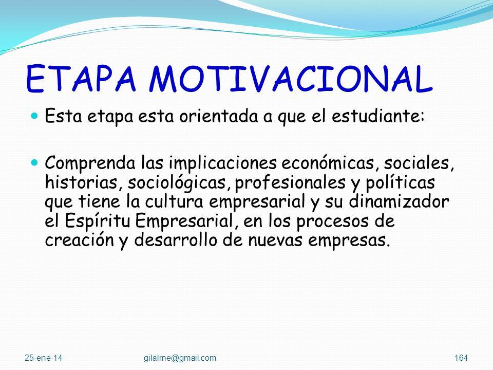 ETAPA MOTIVACIONAL Esta etapa esta orientada a que el estudiante: