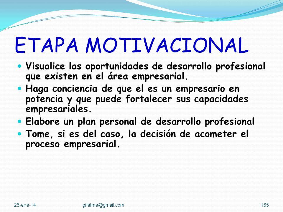 ETAPA MOTIVACIONAL Visualice las oportunidades de desarrollo profesional que existen en el área empresarial.