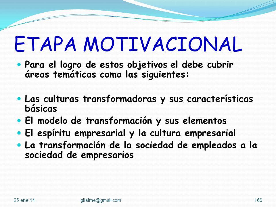 ETAPA MOTIVACIONAL Para el logro de estos objetivos el debe cubrir áreas temáticas como las siguientes: