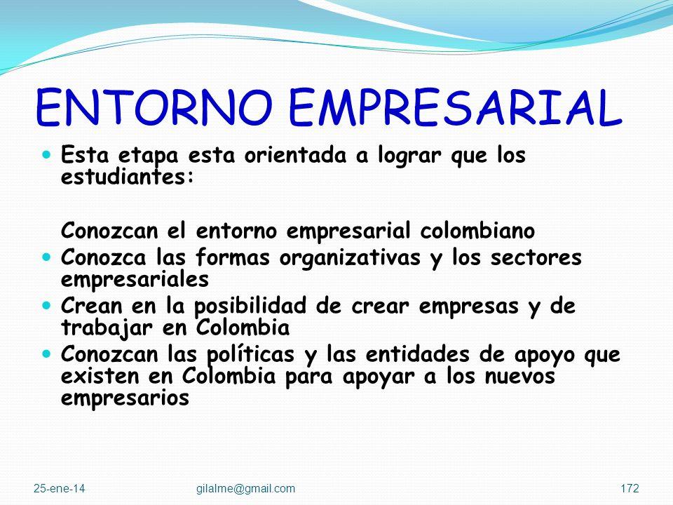 ENTORNO EMPRESARIAL Esta etapa esta orientada a lograr que los estudiantes: Conozcan el entorno empresarial colombiano.
